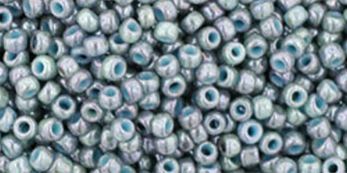 TOHO Rocailles 11/0 (#1208) Marbled Opaque Turquoise/Luster Transparent Blue