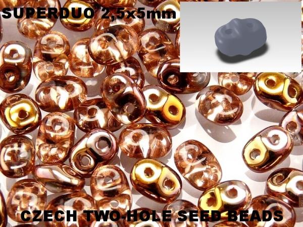 SuperDuos 2x5 mm Crystal Capri Gold