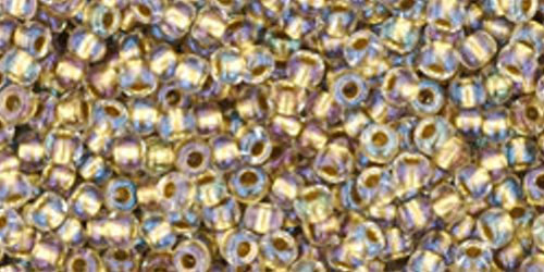 TOHO Rocailles 11/0 (#262) Inside-Color Crystal/Gold Lined