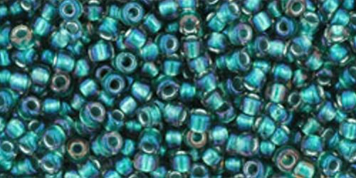 TOHO Rocailles 11/0 (#270) Inside-Color Crystal/Prairie Green Lined