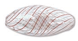 Venezianische Hohlperle Clear/White & Brown, 12 x 25 mm oval