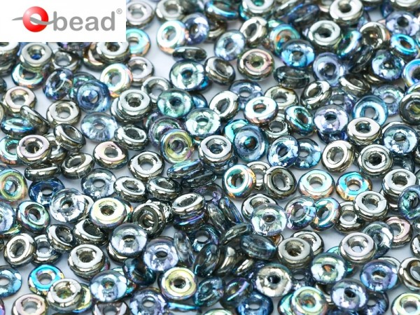 O-Beads 2x4 mm Crystal Graphite Rainbow