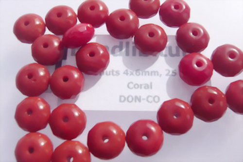 Donuts 4x6mm Coral, 25 St.