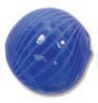Venezianische Hohlperle Dark Blue/White, 13 mm rund