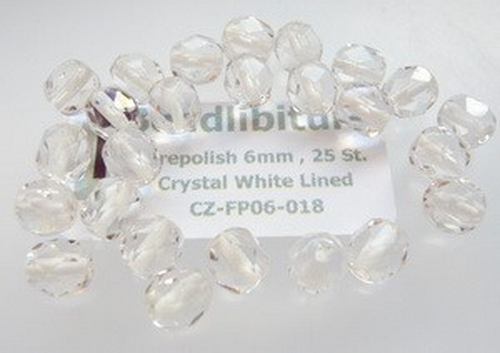 Firepolish 6mm Crystal White Lined, 25 St.