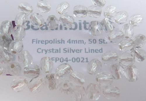 Firepolish 4mm Crystal Silver Lined, 25 St.