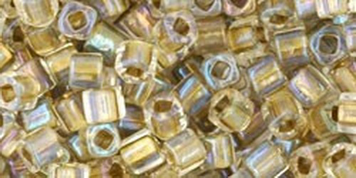 TOHO Cube 3mm (#262) Inside-Color Crystal/Gold Lined