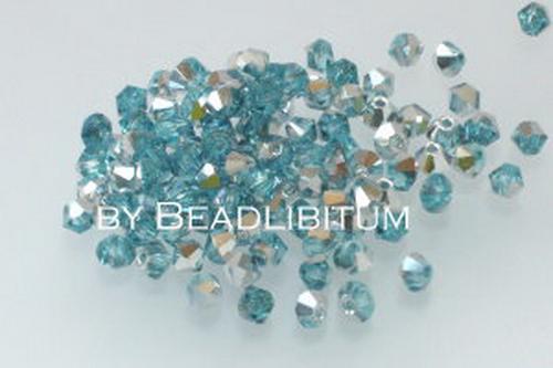 Bicone 3mm Aqua Half Silver, 100 St.