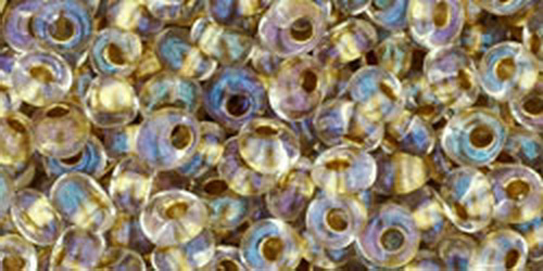 TOHO Magatama 3mm (#262) Inside-Color Crystal/Gold Lined
