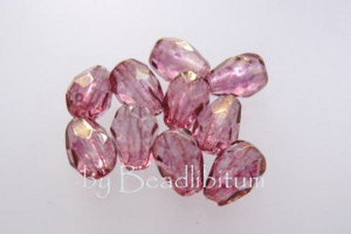 Poire 7x5mm Gold Lustered Rose, 10St.