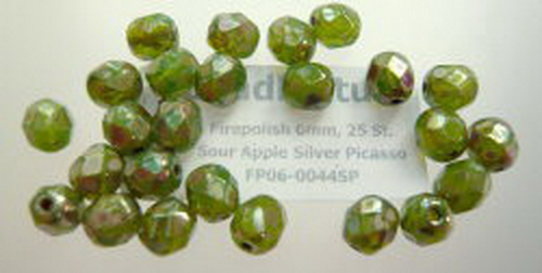 Firepolish 6mm Sour Apple Silver Picasso, 25 St.