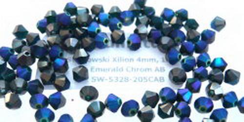 Swarowski Xilion 4mm Emerald Chrom AB, 100 St.
