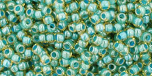 TOHO Rocailles 11/0 (#953) Inside-Color Jonquil/Turquoise Lined