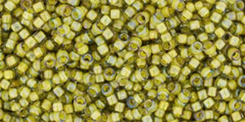 TOHO Rocailles 15/0 (#246) Inside-Color Luster Black Diamond/Opaque Yellow Lined