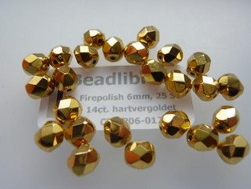 Firepolish 6mm 14ct. hartvergoldet, 25 St.
