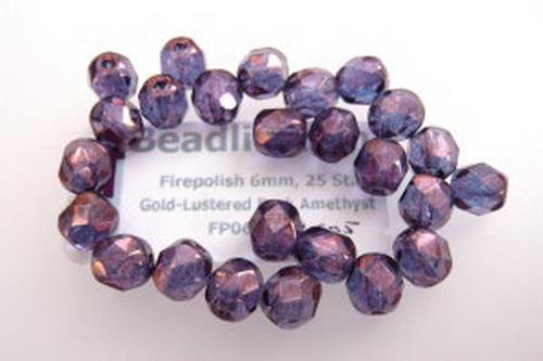 Firepolish 6mm Gold-Lustered Dark Amethyst, 25 St.