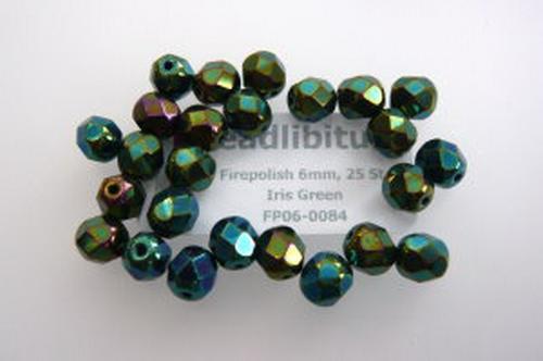 Firepolish 6mm Iris Green, 25 St.