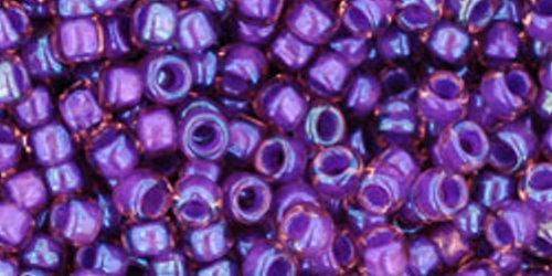 TOHO Rocailles 8/0 (#928) Inside-Color Rainbow Rosaline / Opaque Purple Lined