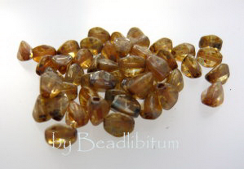 Pinch Beads 5x3mm Light Topaz Picasso, 50 St.
