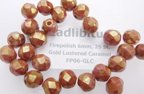 Firepolish 6mm Gold Lustered Caramel, 25 St.