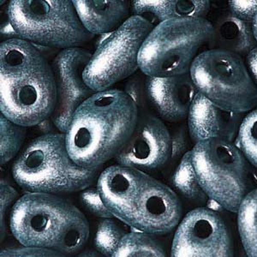 Twin Beads 2,5x5mm (#28958M) Jet Dark Teal Pearl Matte