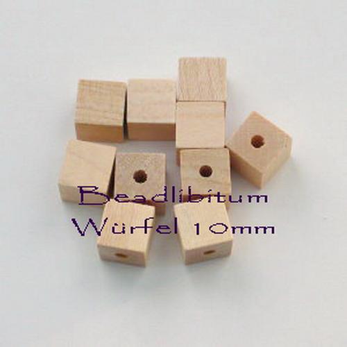 Rohholzperle Würfel 10 mm, Bohrung: 2,8 mm, 10 St.