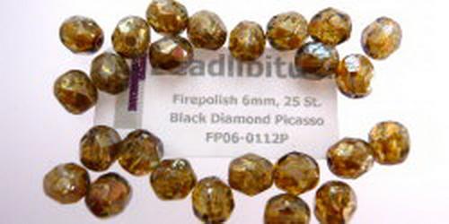 Firepolish 6mm Black Diamond Picasso, 25 St.