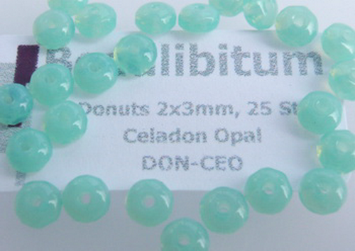 Donuts 2x3mm Celadon Opal, 50 St.