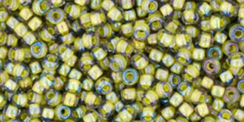 TOHO Rocailles 11/0 (#246) Inside-Color Luster Black Diamond/Opaque Yellow Lined