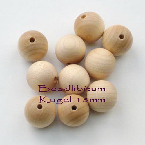 Rohholzperle rund 18 mm, Bohrung: 3,5 mm, 10 St.