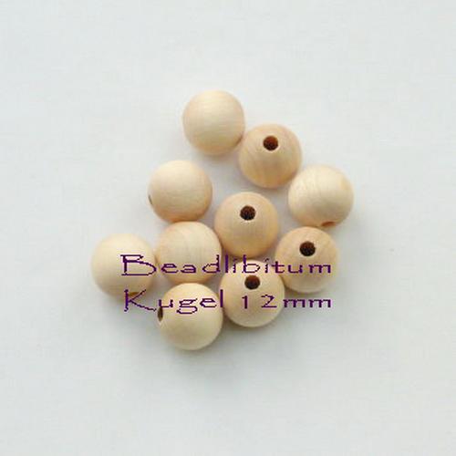 Rohholzperle rund 12 mm, Bohrung: 3,0 mm, 10 St.