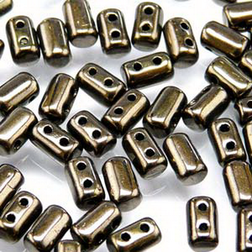 Rulla Beads 3x5 mm Jet Copper Lustre