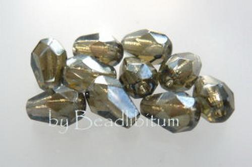 Poire 7x5mm Lustered Black Diamond, 10St.