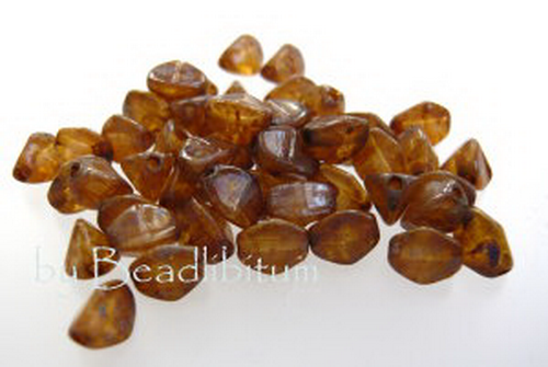 Pinch Beads 5x3mm Topaz Picasso, 50 St.