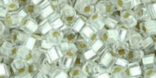 TOHO Cube 2mm (#21F) Silver-Lined Frosted Crystal