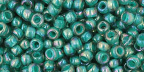 TOHO Rocailles 8/0 (#1833) Inside-Color Rainbow Lt Sapphire/Opaque Teal Lined