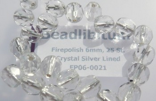 Firepolish 6mm Crystal Silver Lined, 25 St.