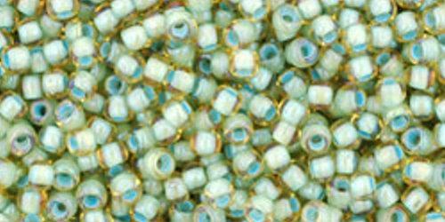 TOHO Rocailles 11/0 (#952) Inside-Color Rainbow Lt Topaz/Sea Foam Lined