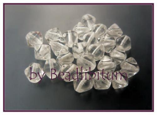 Doppelpyramide 6mm Crystal, 25 St.