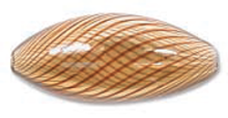 Venezianische Hohlperle Amber Brown, 12 x 25 mm oval