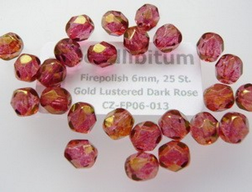 Firepolish 6mm Gold Lustered Dark Rose, 25 St.