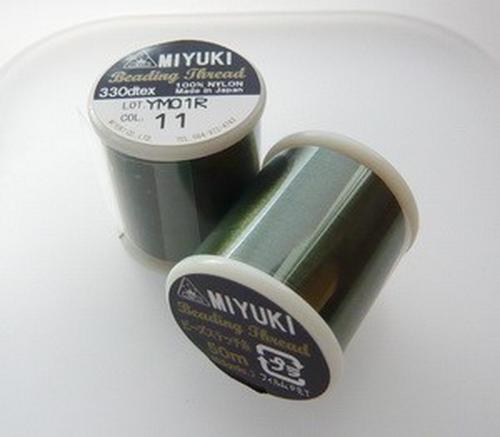 Miyuki Perlenfaden dunkelgrün