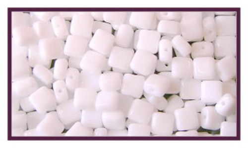 Czech Tile Beads 6mm White, 25 St.