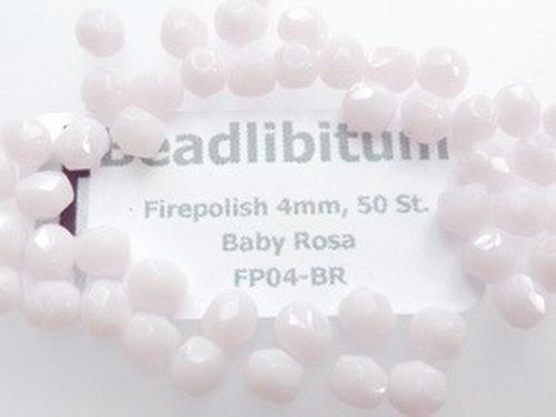 Firepolish 4mm Baby Rosa, 50 St.