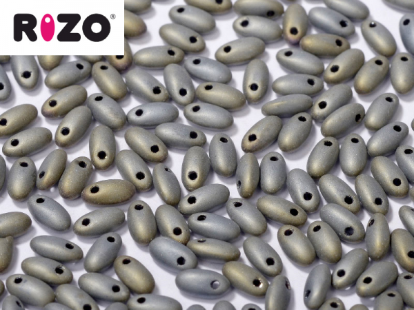 Rizo Beads 2,5x6mm Frosted Iris Grey