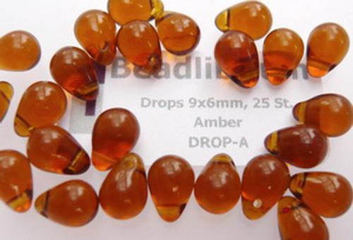 Drops 9x6mm Amber, 25 St.