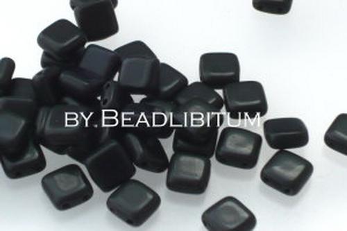 Czech Tile Beads 6mm Jet Matt, 20 St.