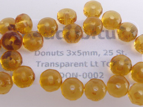 Donuts 3x5mm Transparent Lt Topaz, 25 St.