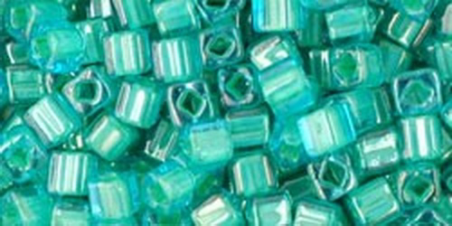 TOHO Cube 3mm (#954) Inside-Color Aqua/Lt Jonquil Lined