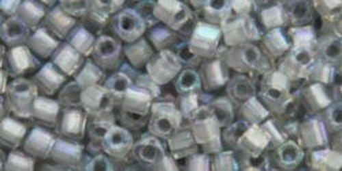 TOHO Cube 2mm (#261) Inside-Color Rainbow Crystal/Gray Lined